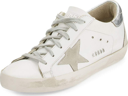 Golden Goose Deluxe Brand Distressed Leather Low-Top Sneaker, White/Silver