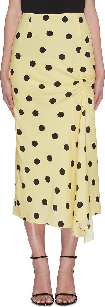De La Vali 'Caroline' polka dot flared satin midi skirt