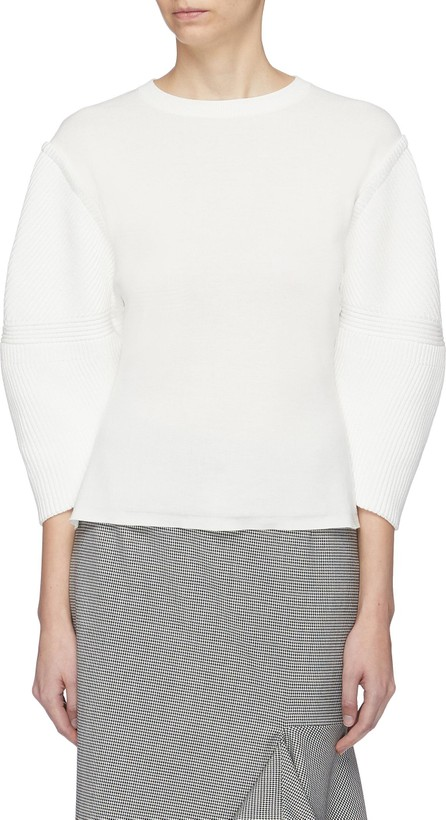Enfold Puff sleeve mixed knit sweater
