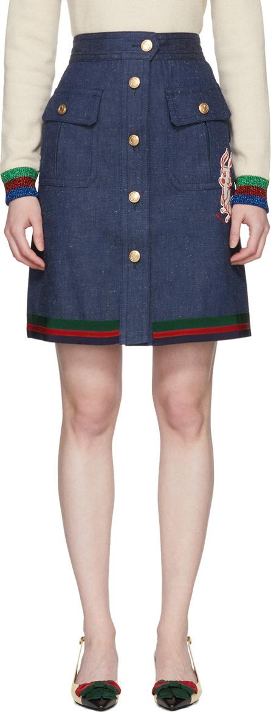 Gucci Blue Denim A-Line Skirt