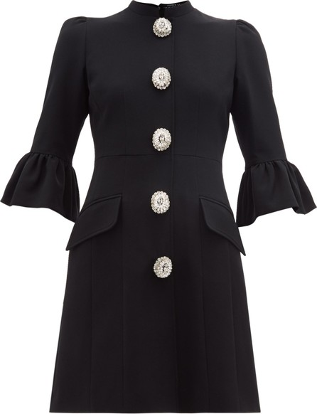 Andrew Gn Crystal-button tailored crepe mini dress