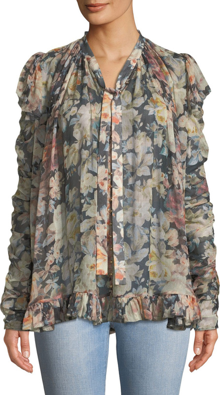 Zimmermann Tempest Frolic Floral-Print Tie-Neck Blouse