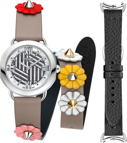 Fendi Mother-of-Pearl Watch Head with Studded Strap