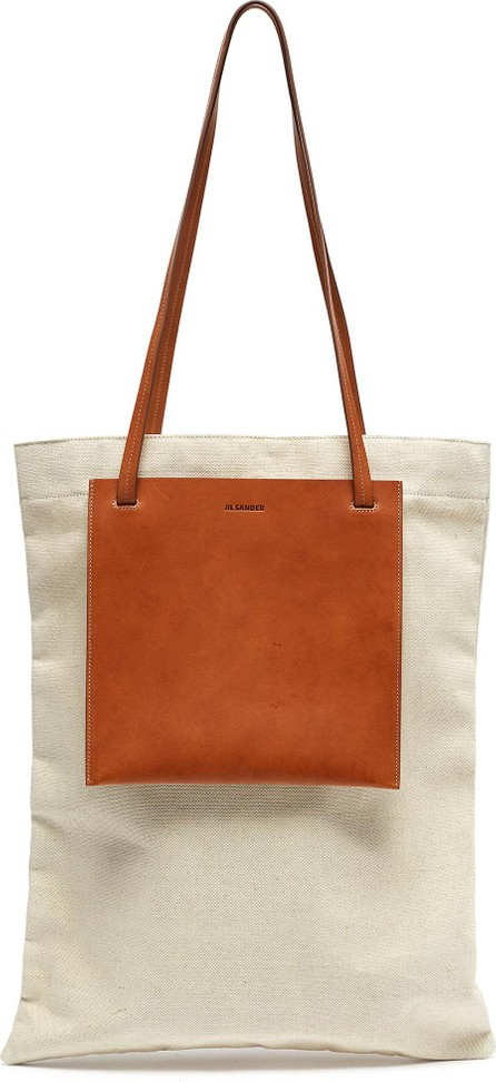 Jil Sander Leather pocket flat shopper tote bag