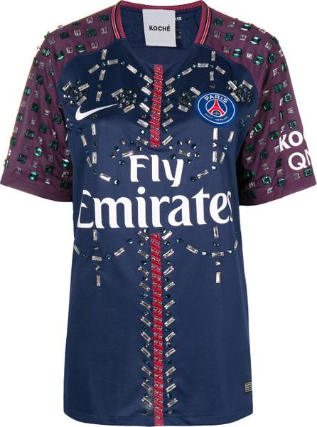 KOCHÉ Crystal embellished Paris Saint Germain football jersey top