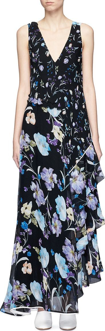 3.1 Phillip Lim Floral print open back silk chiffon maxi dress