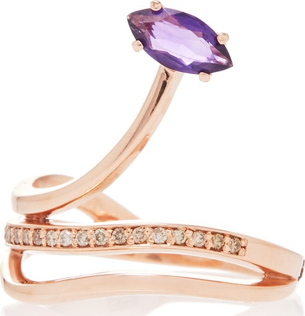 Bea Bongiasca Gloriosa Lily 9K Rose Gold, Amethyst and Diamond Ring