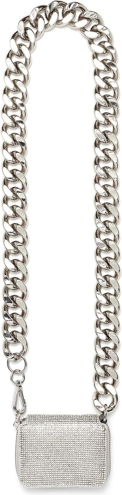 KARA Biker chain crystal mesh wallet