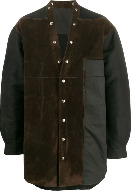 Rick Owens V-neck contrast panel overshirt