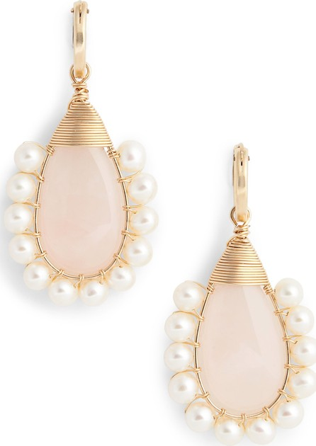 Beck Jewels Lolita Rose Quartz & Freshwater Pearl Statement Earrings