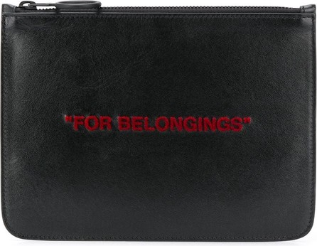 Off White For Belongings zipped clutch