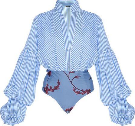 Johanna Ortiz Penny Puff Sleeve Poplin Bodysuit