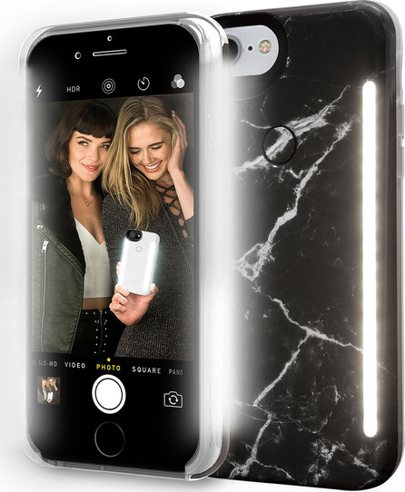 Lumee Limited Edition iPhone 8 Plus Photo-Lighting Duo Case, Black Marble