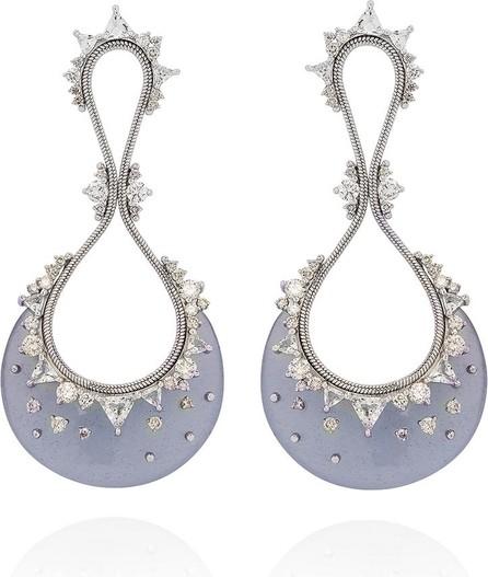 Fernando Jorge Fusion Drop 18k White Gold Chalcedony Earrings w/ Diamonds