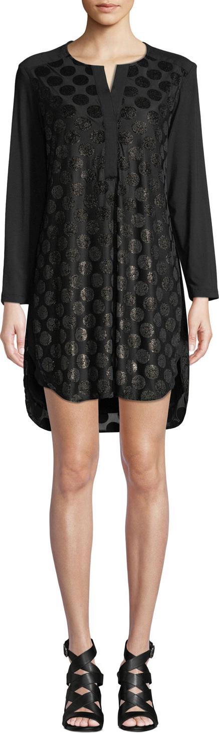 Finley Kenzie Dotted Velvet Dress