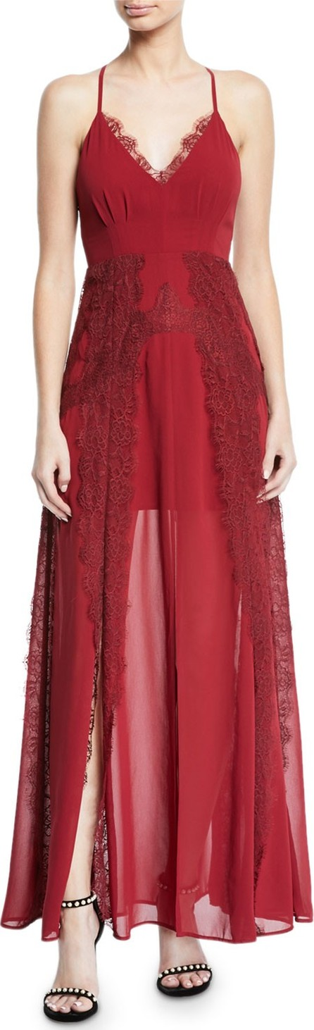 Aijek Lavinia Chiffon & Lace Maxi Dress