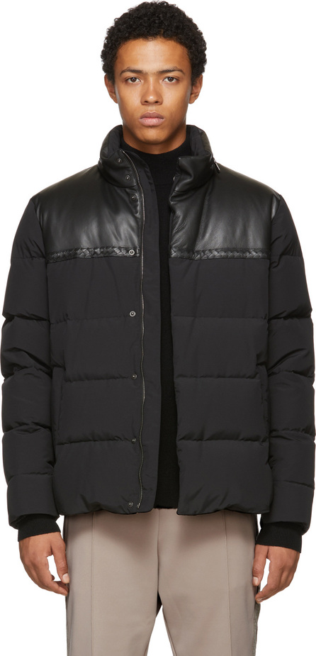 Bottega Veneta Black Nylon & Leather Down Parka