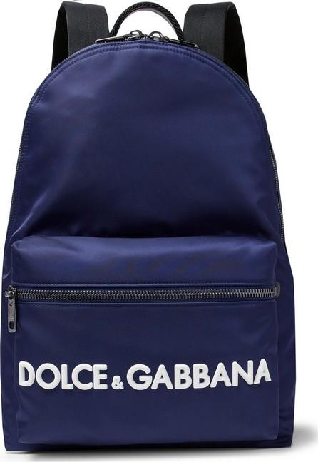 Dolce & Gabbana Logo-Appliquéd Leather-Trimmed Shell Backpack