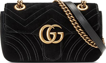 Gucci GG Marmont Mini Quilted Velvet Crossbody Bag, Black