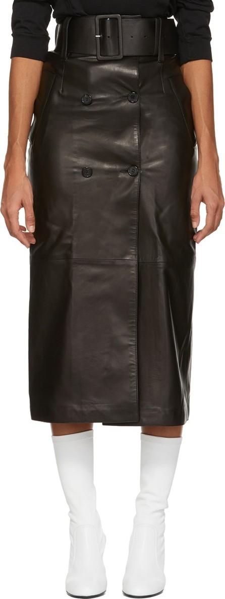 Yang Li Black Leather Belted Skirt