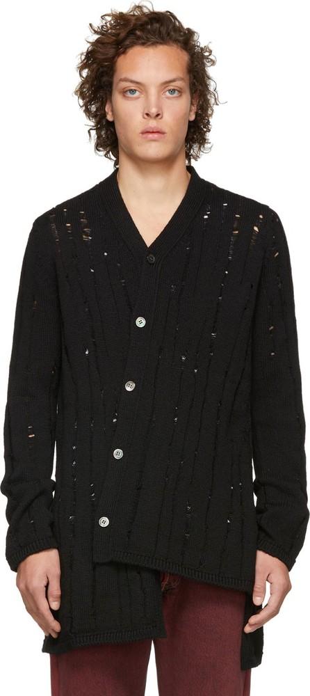 Comme Des Garçons Homme Plus Black Wool Splash Cardigan