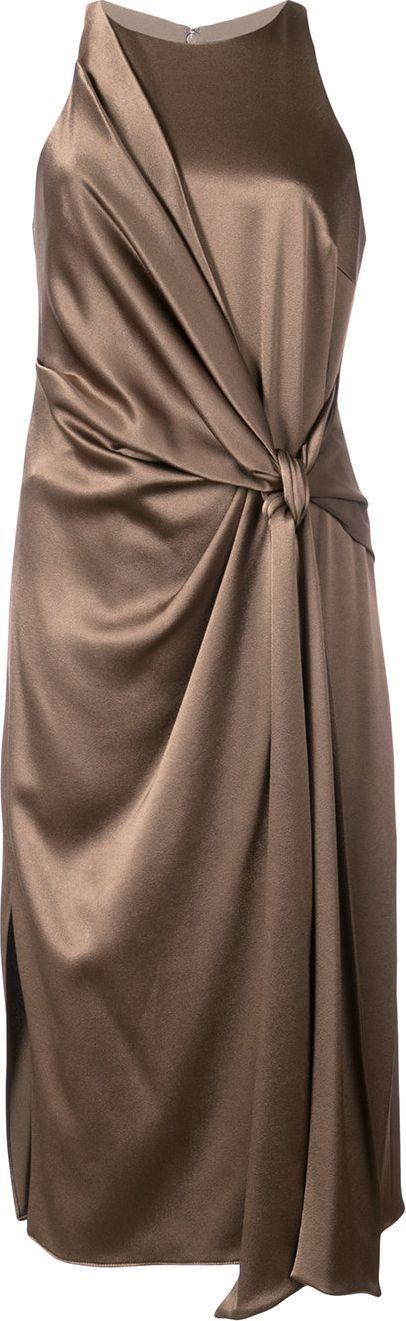 HALSTON HERITAGE tie knot detail dress