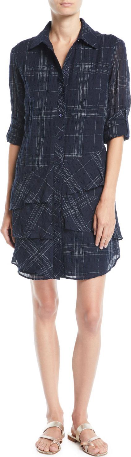 Finley Jenna Windowpane Tiered Shirtdress