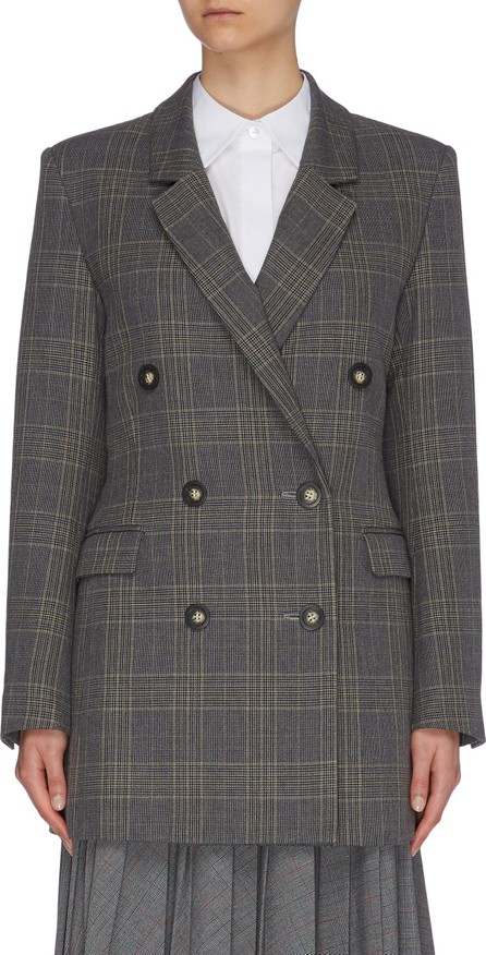Enfold Tie open back houndstooth check plaid double breasted blazer