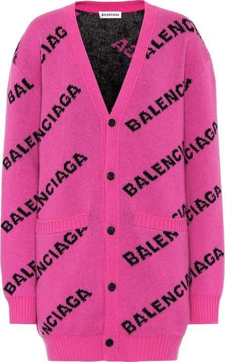 Balenciaga Intarsia stretch-wool cardigan