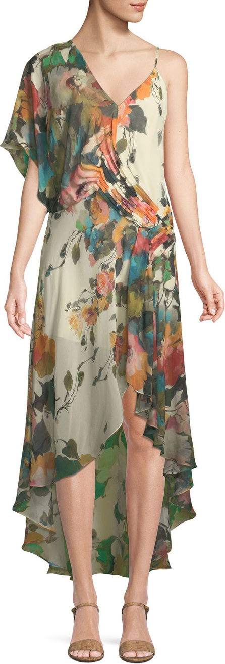 Blooming Flowers One-Shoulder High-Low Dress