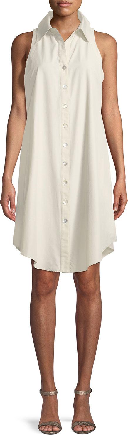 Finley Sleeveless Swing Button-Front/Back Shirtdress