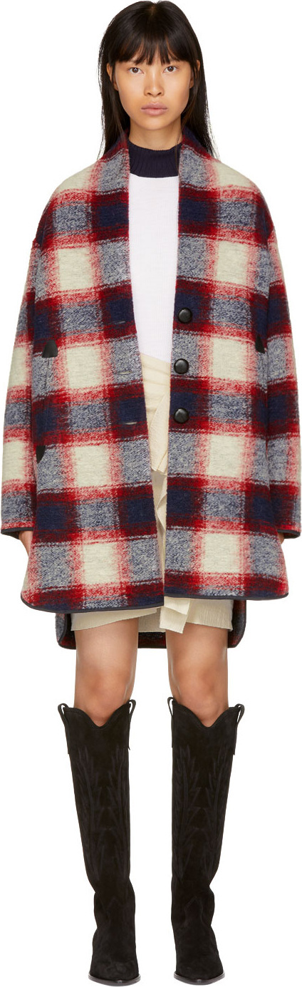 Isabel Marant Etoile Red & Navy Gabrie Check Coat