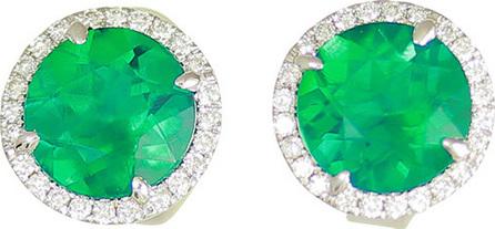 Frederic Sage 18K White Gold Round Lab-Created Emerald & Diamond Halo Stud Earrings