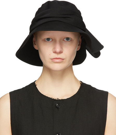 Y's By Yohji Yamamoto Black Wool Frilled Fedora
