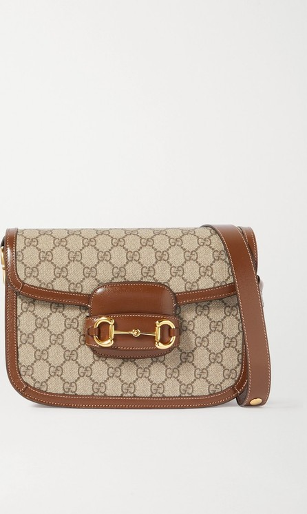 Gucci 1955 Horsebit medium leather-trimmed printed coated-canvas shoulder bag