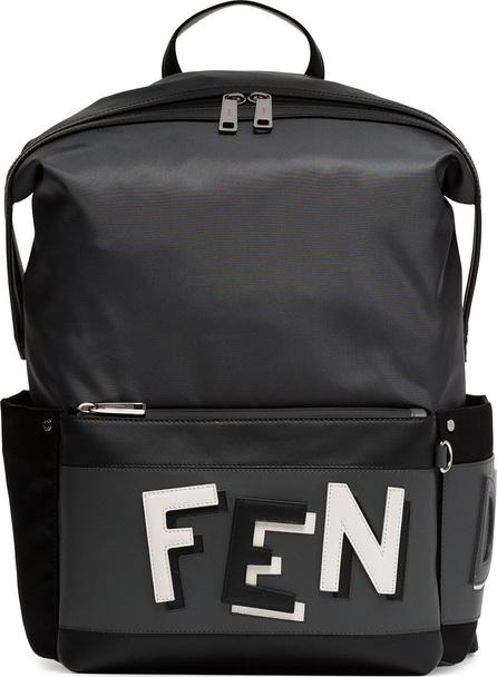 Fendi Grey logo leather backpack