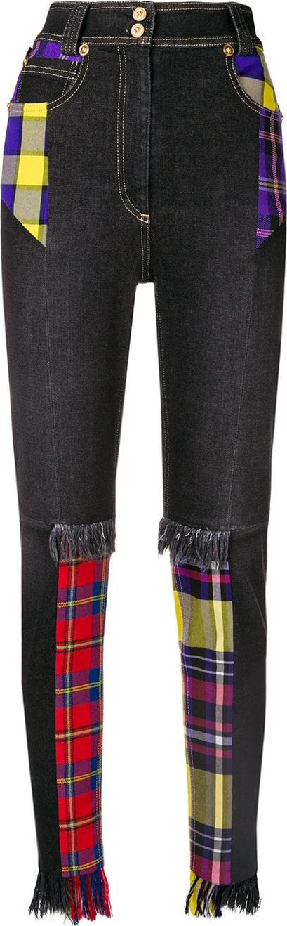 Versace Checked high-waist jeans