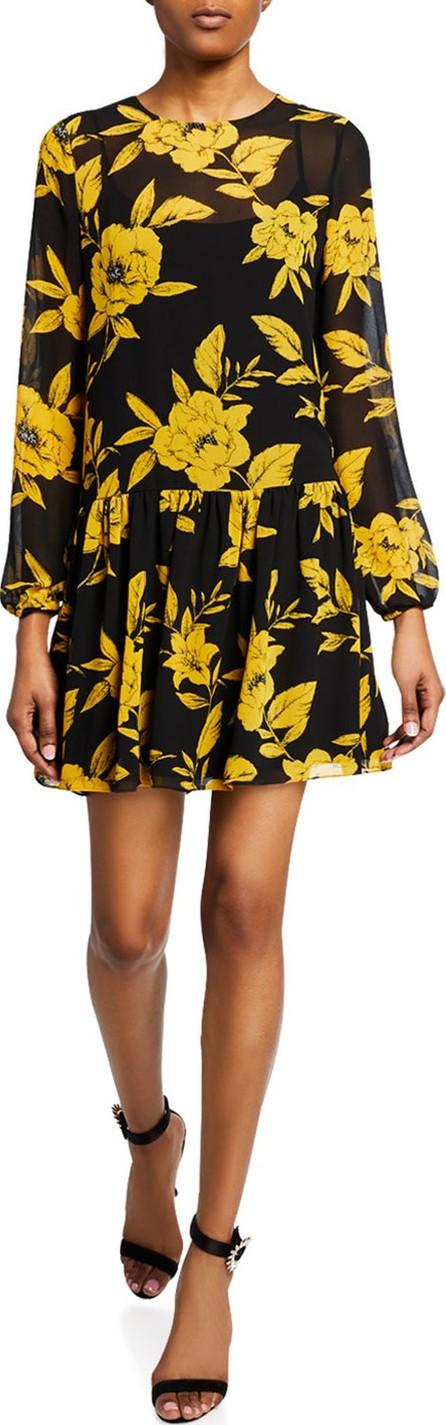 Jay Godfrey Floral-Print Long-Sleeve Drop Waist Mini Dress