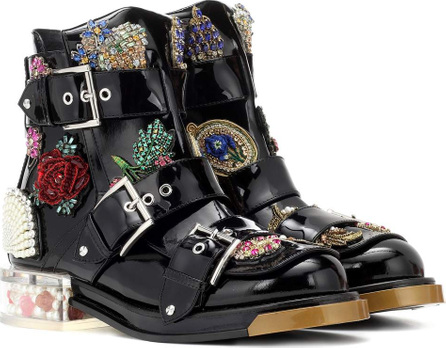 Alexander McQueen Embellished patent leather boots