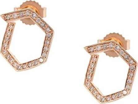 Eva Fehren rose gold Hexagon diamond studs