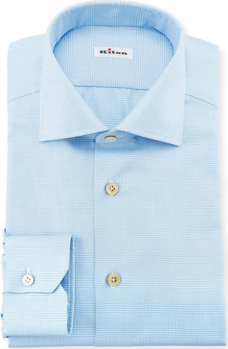 Kiton Men's Tonal Plaid Cotton Dress Shirt