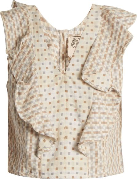ace&jig Maggie V-neck geometric-jacquard cotton top