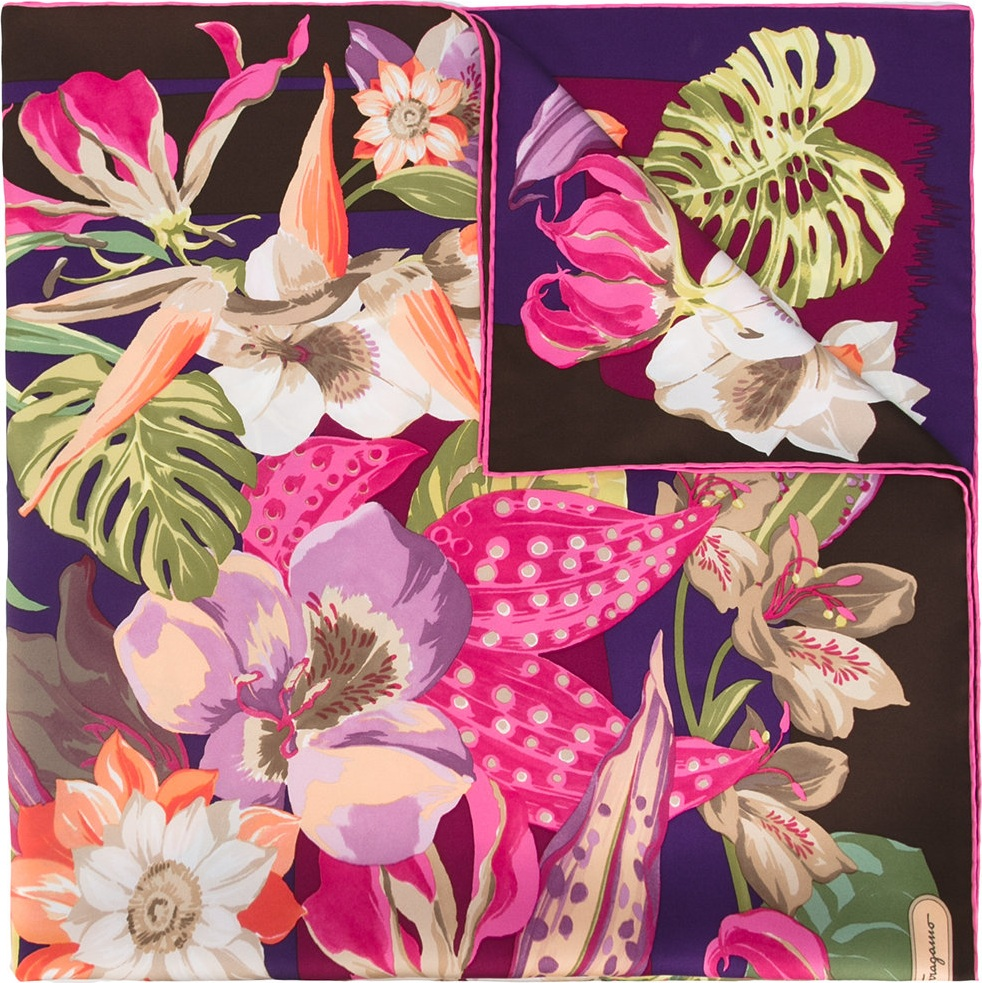 Salvatore Ferragamo Hibiscus Flower Print Scarf Mkt