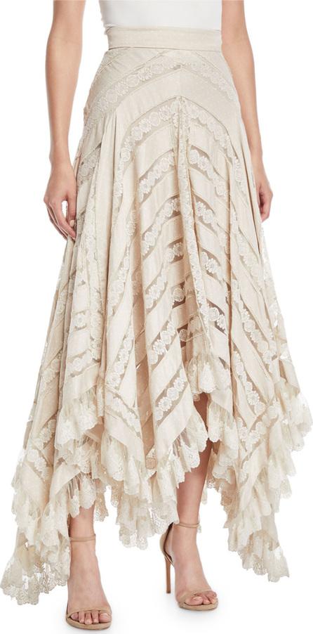 Zimmermann Unbridled Chevron Panel Lace Skirt