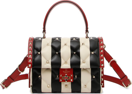 Valentino Tricolor Candystud Stripe Leather Handbag