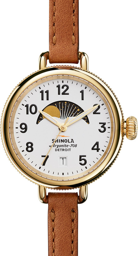 Shinola 34mm Birdy Moon Phase Watch with Leather Strap, Brown/White