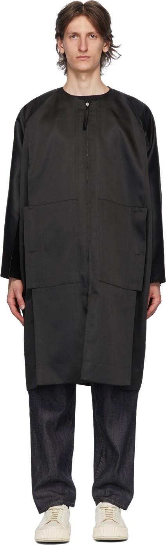 132 5. Issey Miyake Black & Green Stitched Flat Coat