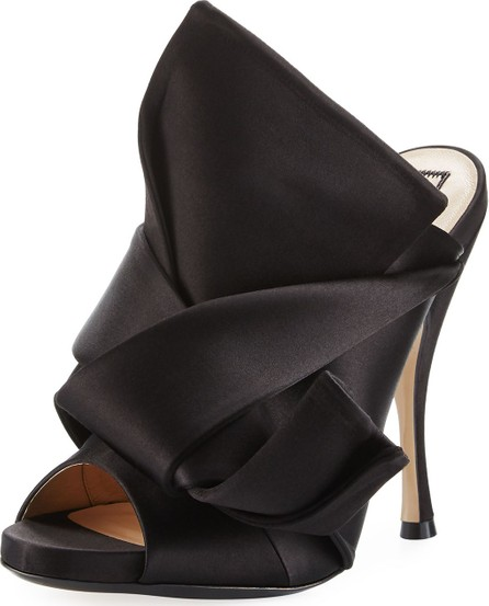 Nº21 Pleated Satin 100mm Mule Sandals