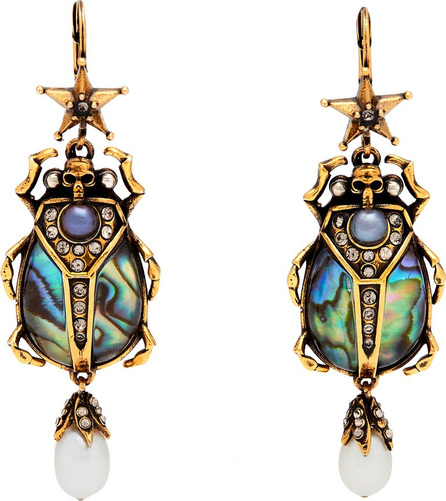 Alexander McQueen Abalon scarab shell and faux-pearl drop earrings