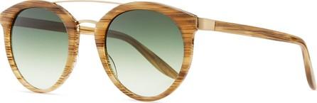 Barton Perreira Dalziel Round Sunglasses with Metal Bar  Horn